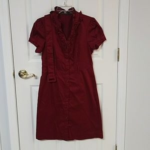 Limited Button Down Maroon dress with belt